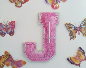 Wooden Letter Acrylic Pour Clock | Kids Clock | Wall clock | Wooden Letters