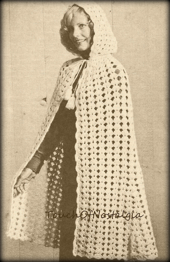 Long Cape Hooded Crochet Pattern Vintage Long Cape With Attached