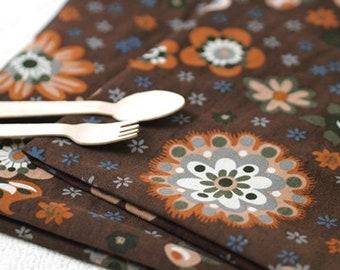 Brown Flower pattern Corduroy Fabric, by Yard