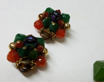 Vintage clip on beaded earrings.