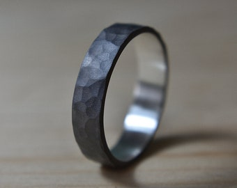 6mm Mens Black Hammered Wedding Band Ring. Black Hammered Ring for Man. Black Hammered Wedding Band Ring. Black Sterling Silver Ring