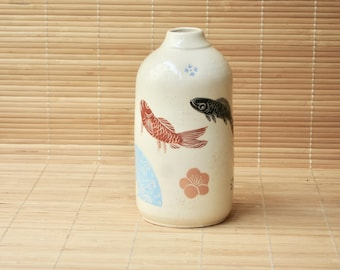 Fish and blossoms bottle vase