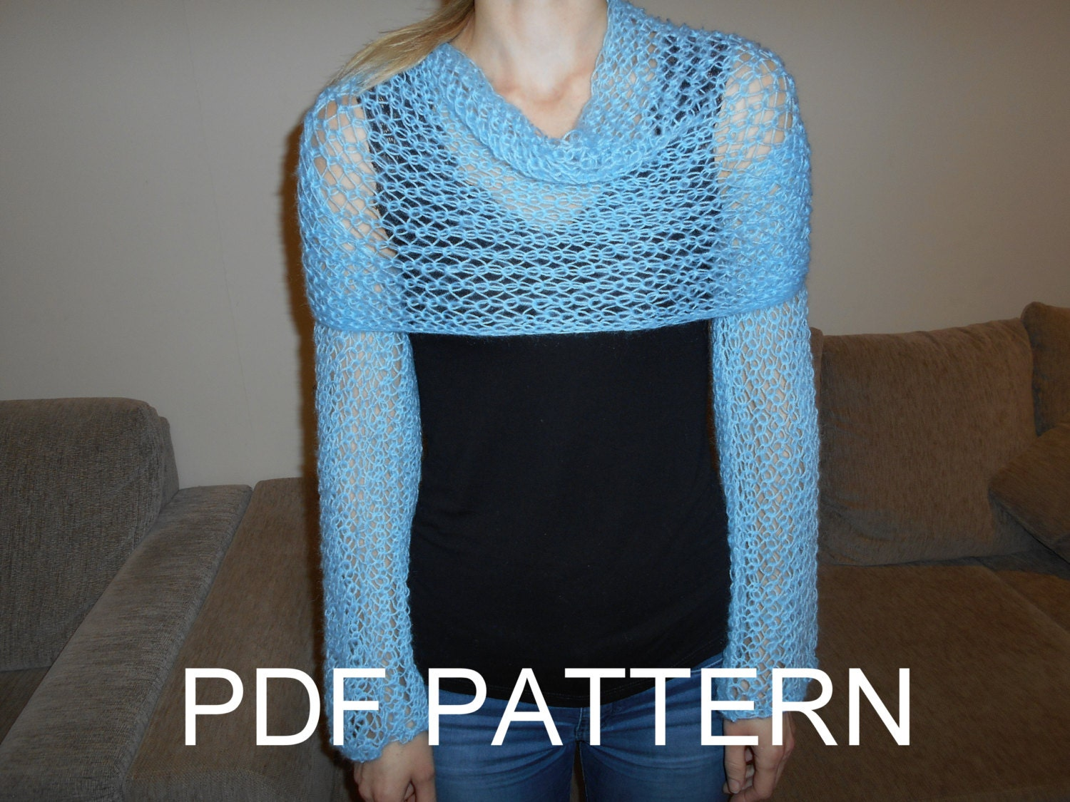 PDF KNITTING PATTERN for long sleeves lace scarf sweater