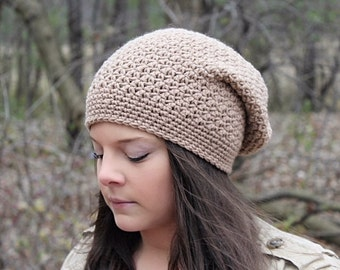 Crochet Slouchy Hat For Women, Slouchy Beanie Hat, Beige Hat, Women's Slouch Hat, Winter Hat, Boho Fashion, Crochet Hat, The Denali