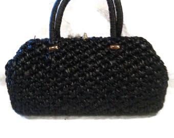 Vintage Black Woven Handbag by Magid