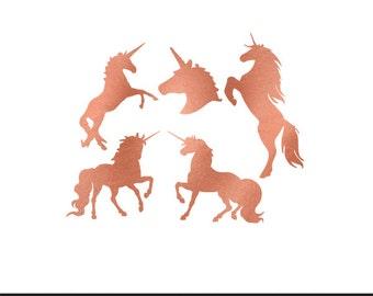 unicorns rose gold foil clip art svg dxf file instant download silhouette cameo cricut digital scrapbooking commercial use