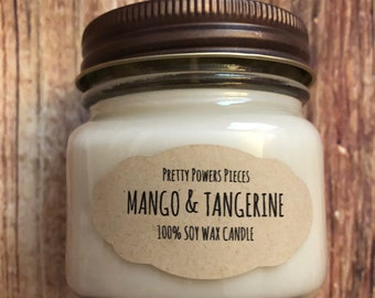 Mango and Tangerine Soy Candle, Soy Wax Candle, Soy Wax, Soy Candle, Citrus Candle, Orange Candle, Mango Candle