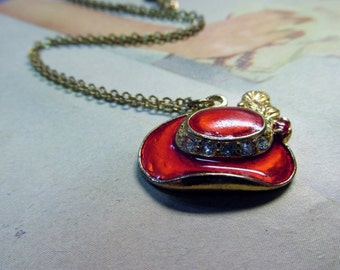 Red Hat Gold Tone Necklace