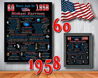 60th Birthday Chalkboard, 1958 Chalkboard Poster, USA Facts, 60 Years Ago in 1958, 60th Birthday Gift, Personalized, Digital File (#8045)