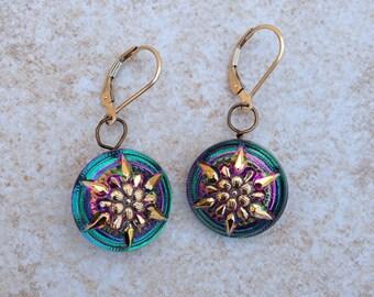 Czech Glass Button Earrings