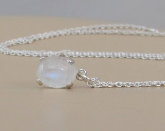 Natural Moonstone Necklace, Rainbow Moonstone Pendant, Sterling Silver, Moonstone Jewelry, 9x7mm Moonstone Gemstone, Mothers Day Gift