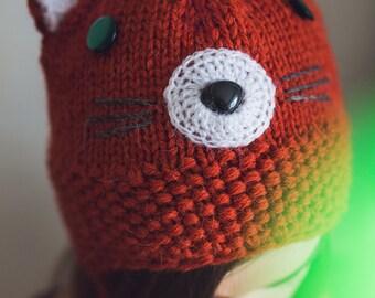 Knit fox beanie, Knit cat beanie, Winter fox hat, Knit ears beanie ,hat with ears flap, Ears hat, Orange, Red knit hat Unisex Christmas gift