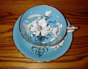 Paragon Turquoise Easter Lily Teacup - By Appointment - Paragon Lily - Turquoise Paragon - Bone China Teacup - Blue and White - Gold Trim