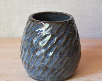 Ceramic bud vase, blue-grey, hand carved