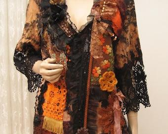 Festiwal cotton boho jacket, gypsy jacket, hand-dyed bohemian jacket, Embroidered Jacket, Hippie Jacket, Upcycled Clothing, art to wear