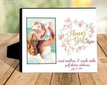 Flower girl gift   wedding flower girl photo frame   flower girl wreath picture frame   gold foil or glitter photo frame gift  MFFG-001