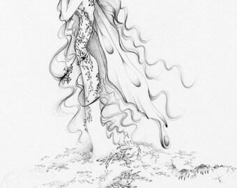 Fairy Fine Art Print of a Fairy Sad Grieving Art Print of a Fairy Memento Gift for Grieving Family Heartbroken Fantasy Drawing Sad Fairy