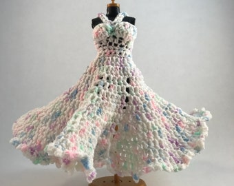 Barbie Doll Clothes: Dress in white and pastels