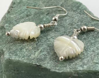Mother's Day SALE! - Mother of pearl leaf earrings, mother of pearl earrings, leaf earrings, leaf drop earrings
