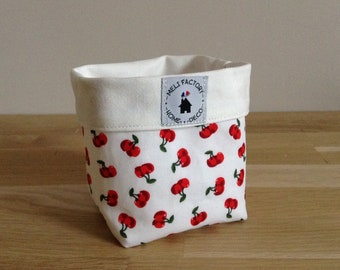 Storage basket / dish, cherry - red and white cotton reversible