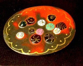 Vintage Pin,Mod Floral  Palette,Red Enamel on Copper,Very Colorful Brooch,Artist Signed Creation, Art Teacher Gift