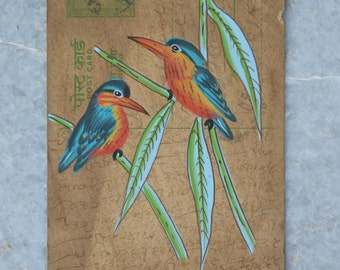 Kingfisher- Vintage Indian fine Miniature Painting natural stone color on an Old Post Card