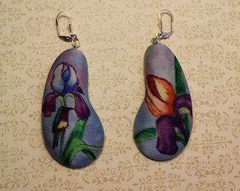 Iris earrings. Hand painted silk earrings. Unusual earrings. Iris flower earrings. Art to wear. Art jewelry. Made to order.