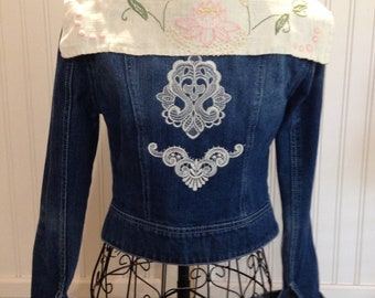 Girls denim jacket lace embroidered appliqué vintage linen embroidered collar linen pink lace cuffs up cycled repurposed denim jacket