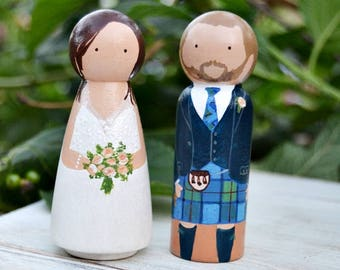 Scottish Groom Kilt Wedding Cake Topper, Indian Wedding Cake Topper, Custom Wedding Figurines, Wedding cake topper.