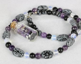 Snowflake Obsidian Necklace Gemstone Bottle Necklace Vial Pendant Beaded Amethyst