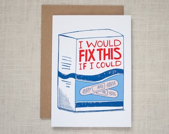 SORRY CARD – I Would Fix This If I Could – Bandaid, SYMPATHY, Fix it, Broken, First Aid Greeting Card
