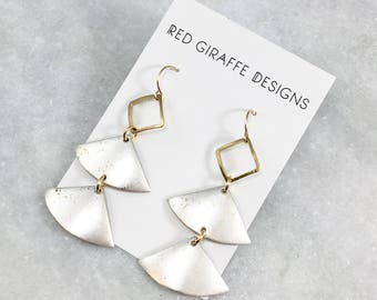 Tiered Silver Triangle Earrings | Brass Accent | Mixed Metal | Geometric Earrings | Sensitive Ears | Brass & Silver
