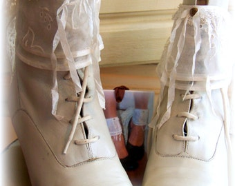 Bridal ankle cuffs, special occasion, BREATHE, Prom cuffs, Boot cuffs, antique lace, brass studs,