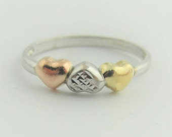 Antique Heart Ring- Sterling Silver And 10k Yellow Gold