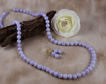 """30"""" Blue Lace Agate Necklace & Earring Gemstone Jewelry Set"""