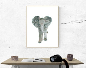 Printable, Instant Digital Download Art - Watercolour Elephant, Wall Art, Home Decor
