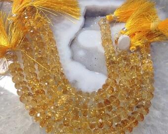 50% Mega Sale Citrine Faceted Rondelle Gemstone Beads