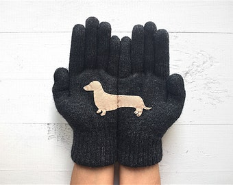 Pet Gloves, Pet Lover Gift, Dachshund Gloves, Winter Sale, Dachshund Lover Gift, Express Shipping, Gift For Her, Dog Lover Gift, Mother Gift