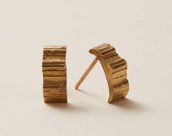 swiss chard stem earring || minimalist jewelry || silver stud earring || gold stud earrings || rose gold studs
