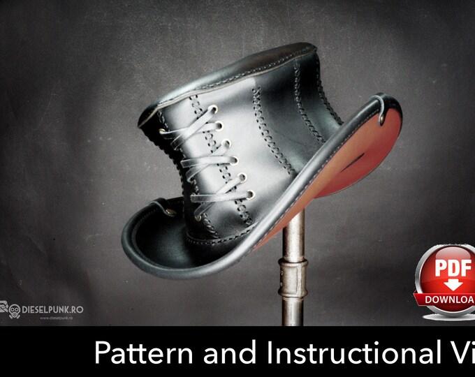 Top Hat Pattern - DIY Pattern - Steampunk Hat DIY - Pdf Download - Hat Leather Template - Corset Hat Pattern