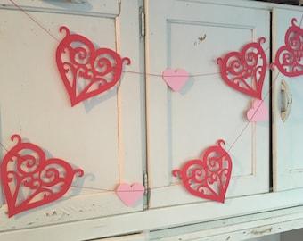 Valentines heart garland