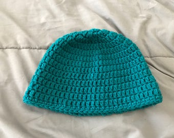 Turquoise crocheted hat