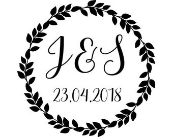 """Custom Wedding Wreath Stamp, personalized stamp, initials & date stamp, card stamp, tags stamp, wedding stationery, 1.8""""x1.8"""" (cts152)"""