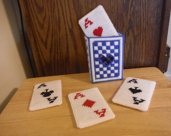 Plastic Canvas Coasters Set  Playing Cards, Christmas gifts, Birthday Gift, Needlepoint Canvas, Handmade Cards, Kitchen Decor, Easter Gifts