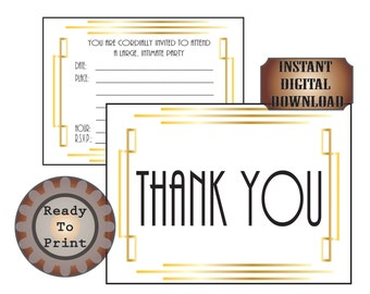 Art Deco Stationery Set Printable Party Invitation Thank You Card Roaring 20s Gatsby Era Flapper Speakeasy Prohibition Wedding Black Gold