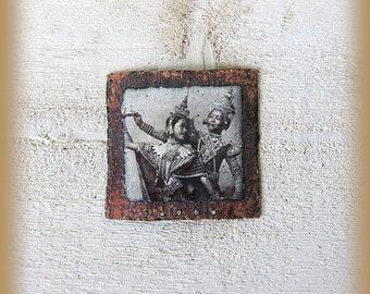 Enameled copper pendant, charm, pendant