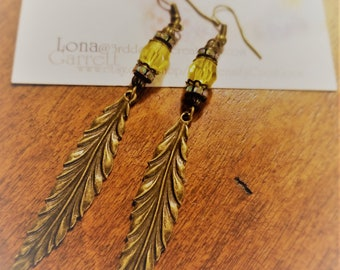 Yellow Beaded and Antiqued Leaf Earrings
