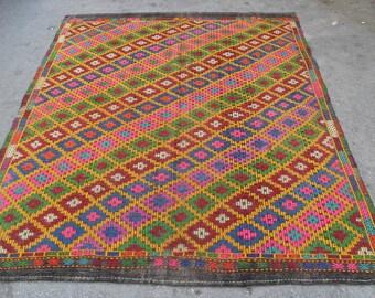 kilim rug carpet free shipping VINTAGE TURKİSH mut cecim kilim Anatolian handwoven decorative kilim - SİZE : 82'' X 107'' ( 205 cm X 268 cm)