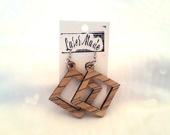 Wood Earrings ( Zebrawood )