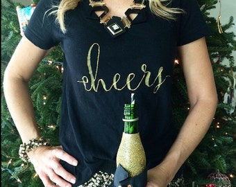 C7 Cheers Tee, Champagne Tee, Graphic Tee, Holiday Tee, Holiday Shirt, Cheers Shirt, New Year's Eve Tee, New Years Tee, Holiday Outfit, NYE